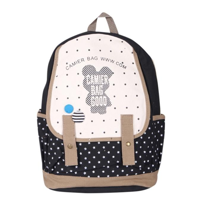 Black Fabric Backpack For Women