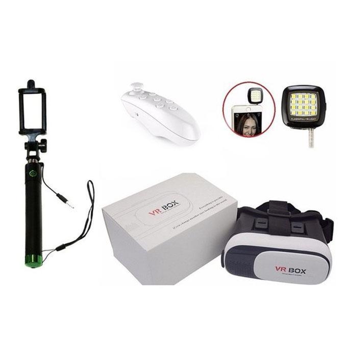 VR Box + VR Wireless Remote + Selfie Stick + Selfie Light Gadget Pack G&G-11