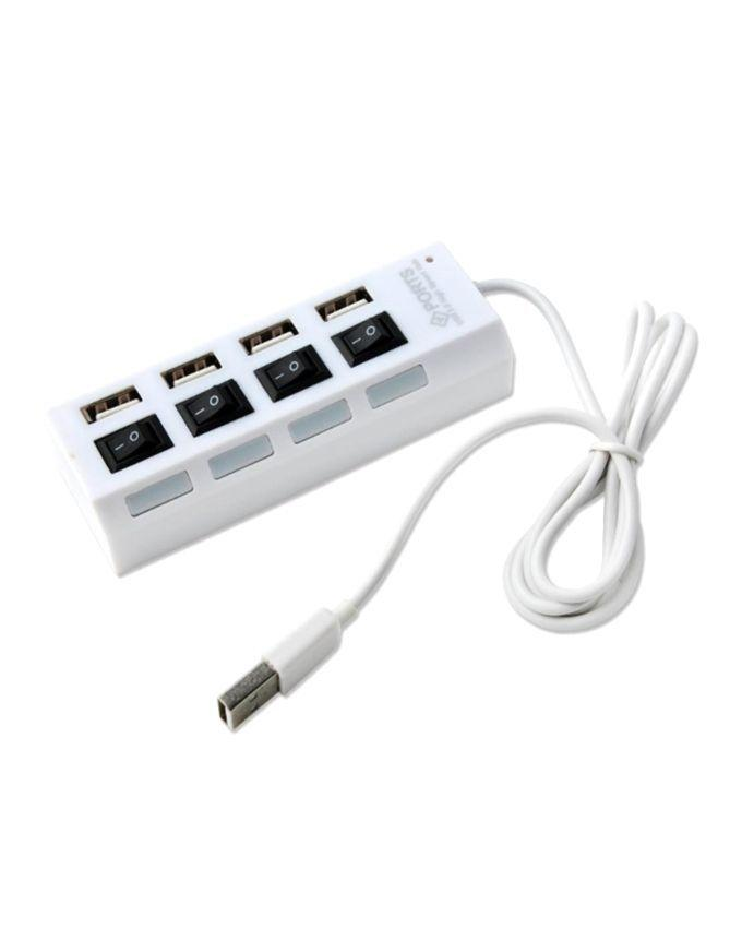 4-Port USB 2.0 HUB With Individual Power Switches - White