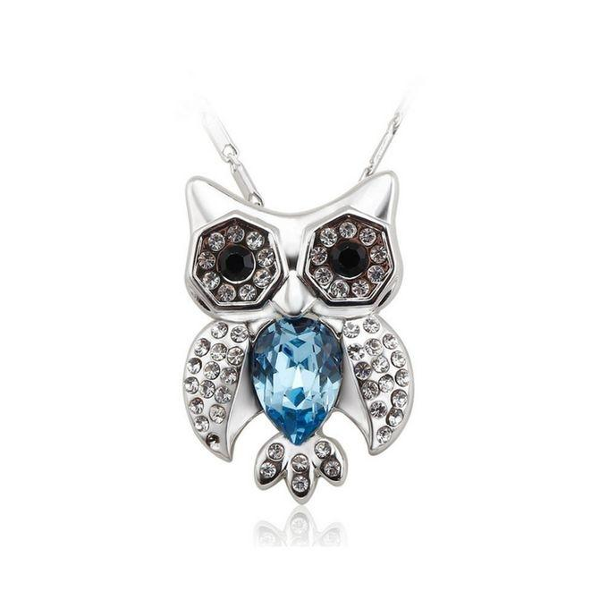 RA081 Silver and Blue Owl Zinc Alloy Pendant For Women