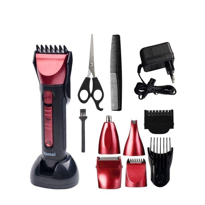 5 in 1 Orginal Multi Function Rechargeable Clipper and Shaver - Black and Red