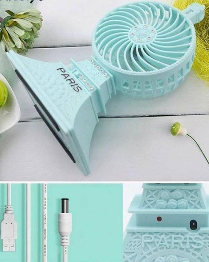 USB Paris Mini Tower Fan - Blue