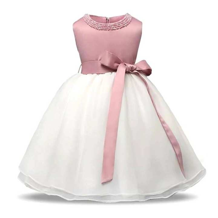 Pink and White Sateen and Cotton Party Dress For Girls