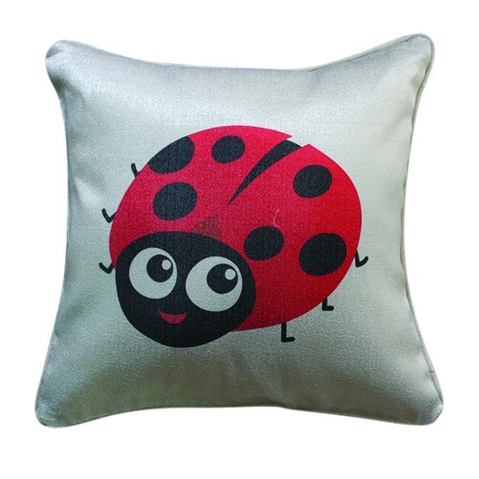 Lady Bug Printed Cushion Cover - Gray