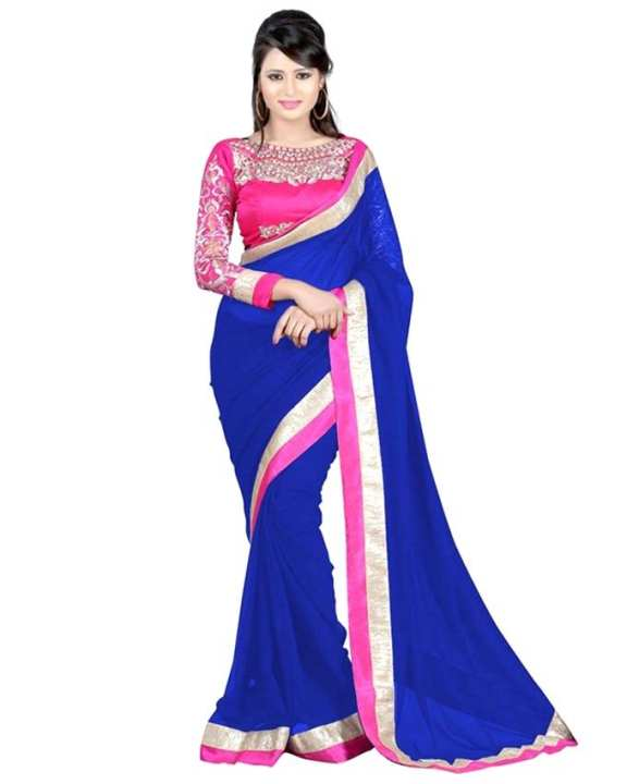 Royal Blue and Magenta Weight less Georgette Saree for Women