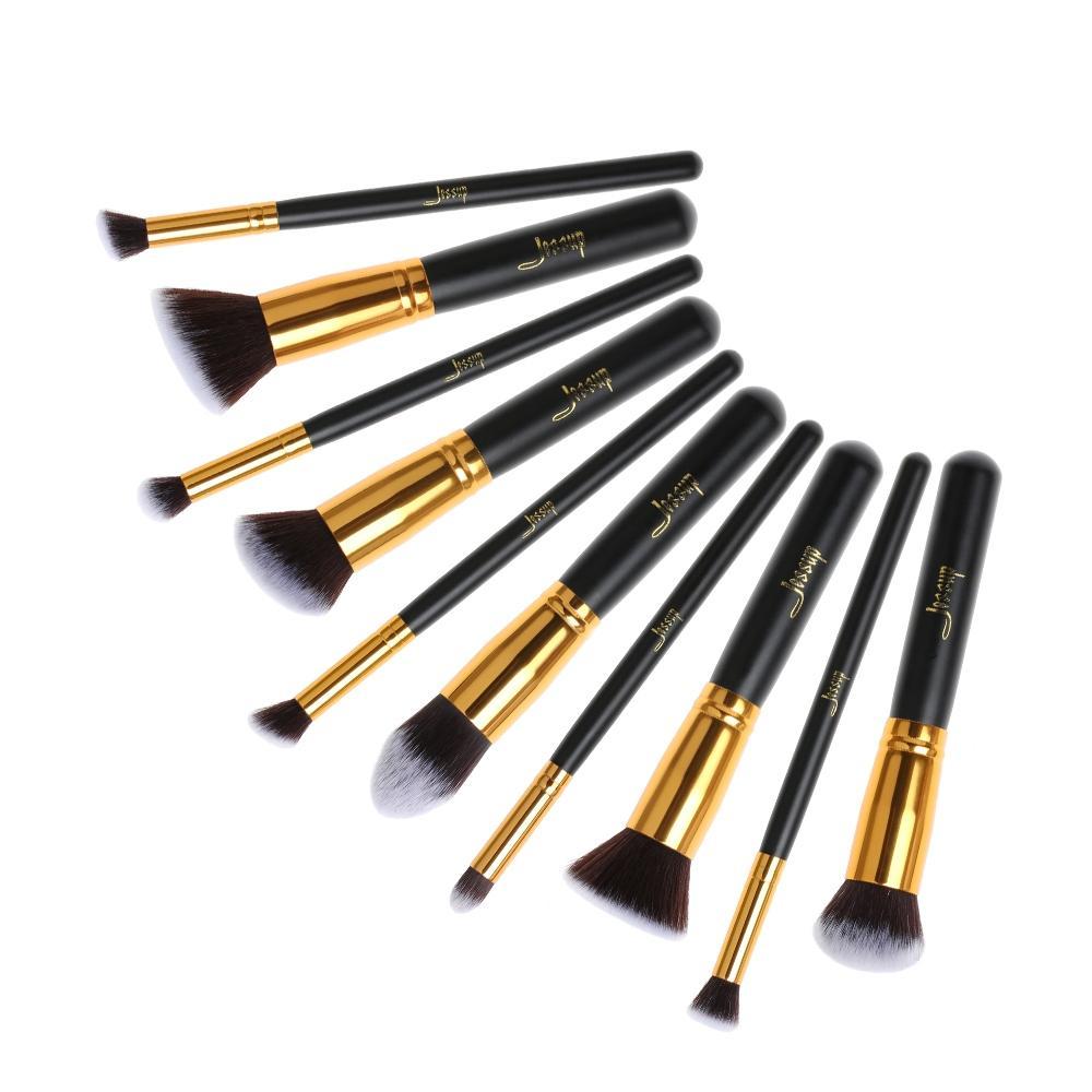 T057 10 PCs Kabuki Series Brush Set - Black and Golden