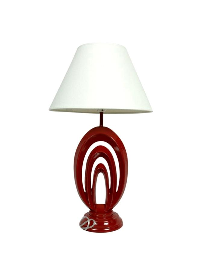 """23"""" Fiber Table Lamp With Fabric Shade - White and Maroon"""