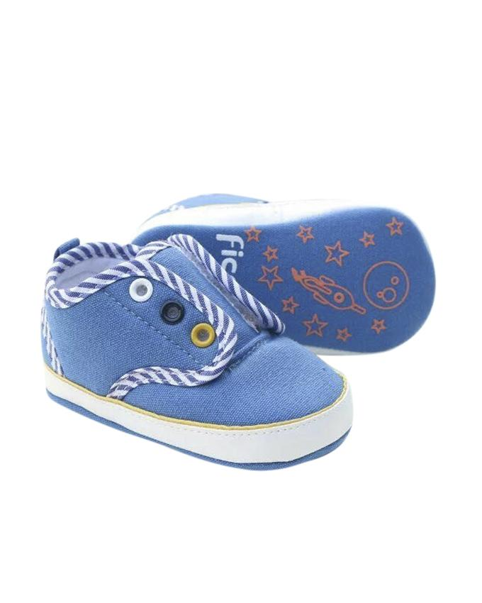 Blue and White Cotton Sneaker For Boys