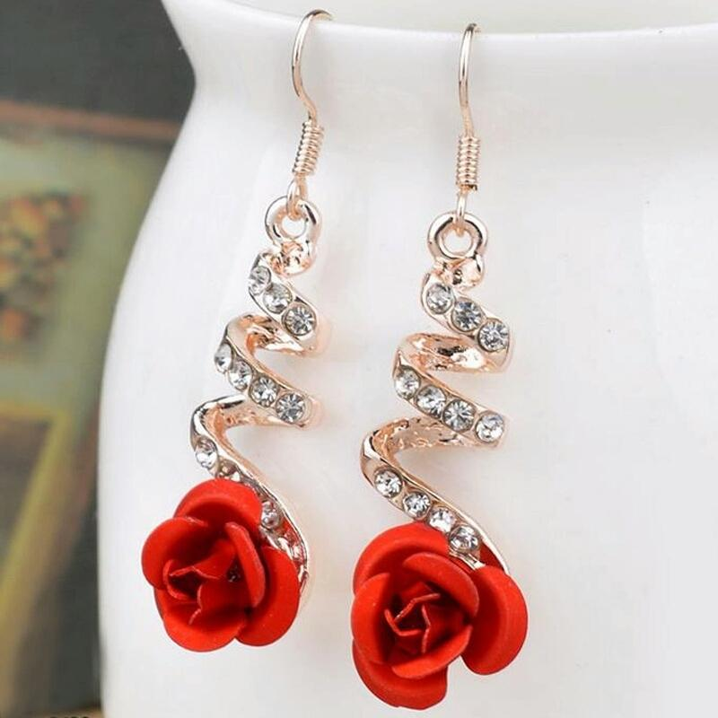 Red Rose Gold Plated Earrings for Women
