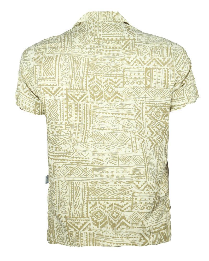 Viscose Casual Short Sleeve Shirt - Tan Print