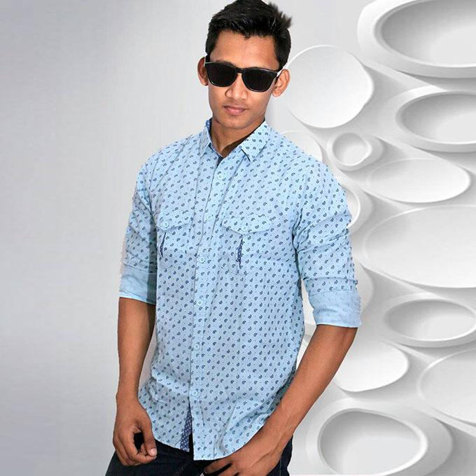 Sky Blue Printed Cotton Casual Long Sleeve Shirt For Men
