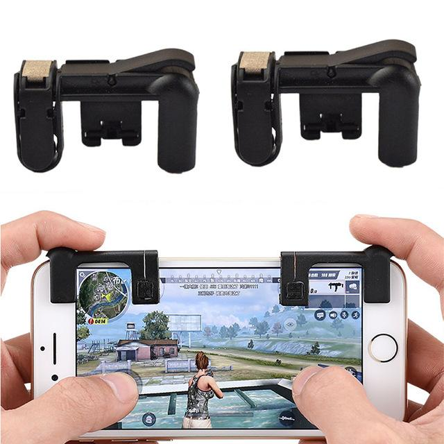 PUBG Shooter Controller Smartphone Mobile Gaming Trigger Fire Button Handle - black