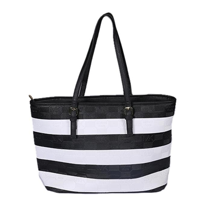 Black and White Artificial Leather Hand Bag For Women