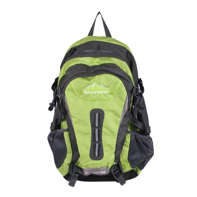Light Green and Dark Gray Polyester Backpack For Men