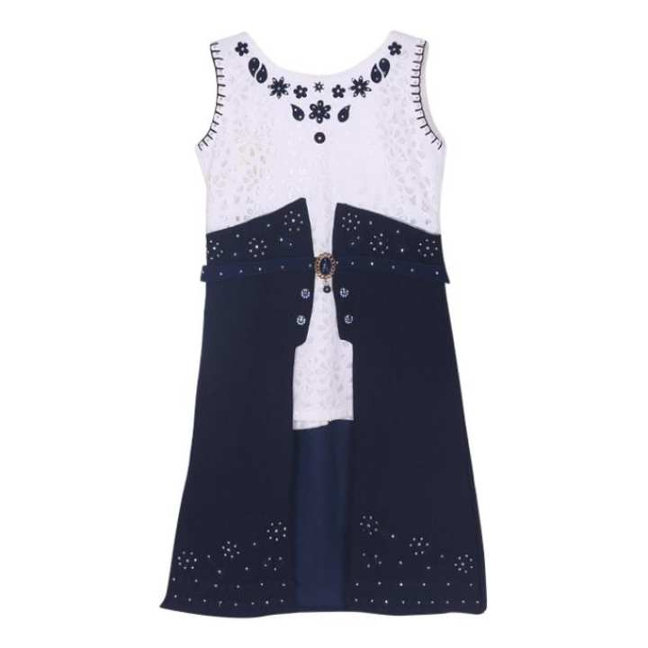 White and Navy Blue Georgette Frock For Girls
