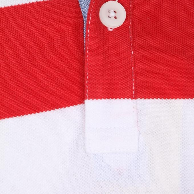 Red and White Cotton Casual Polo For Men