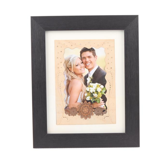 Floral Photo Frame - Black