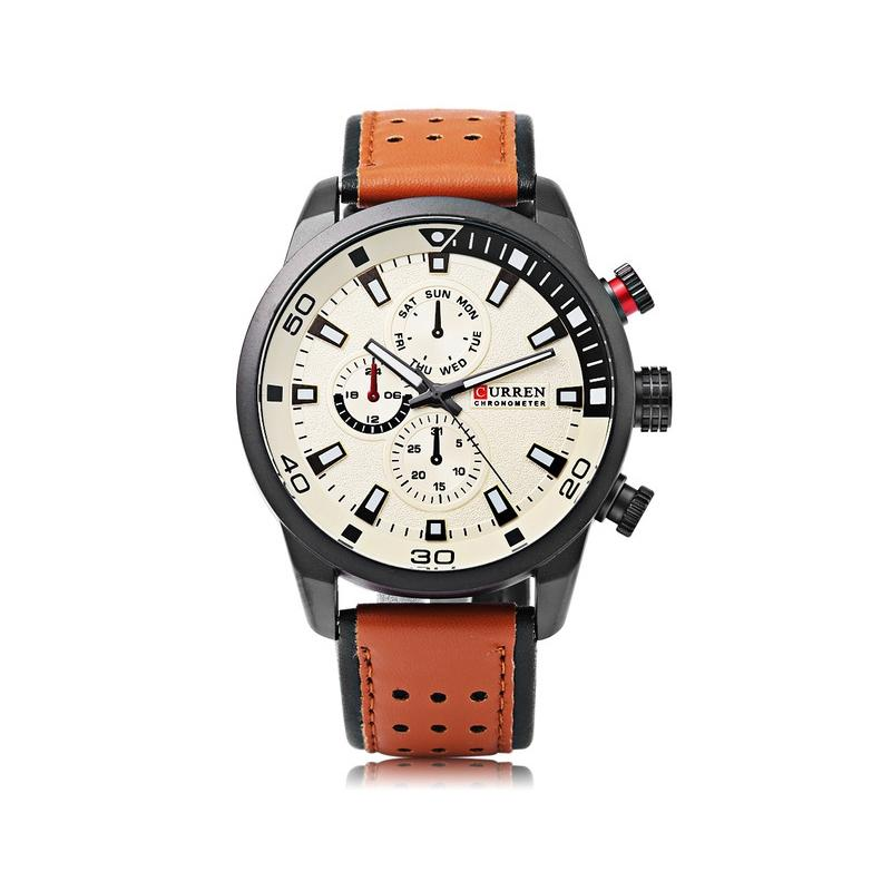 C8251 Leather Watch For Men- Brown
