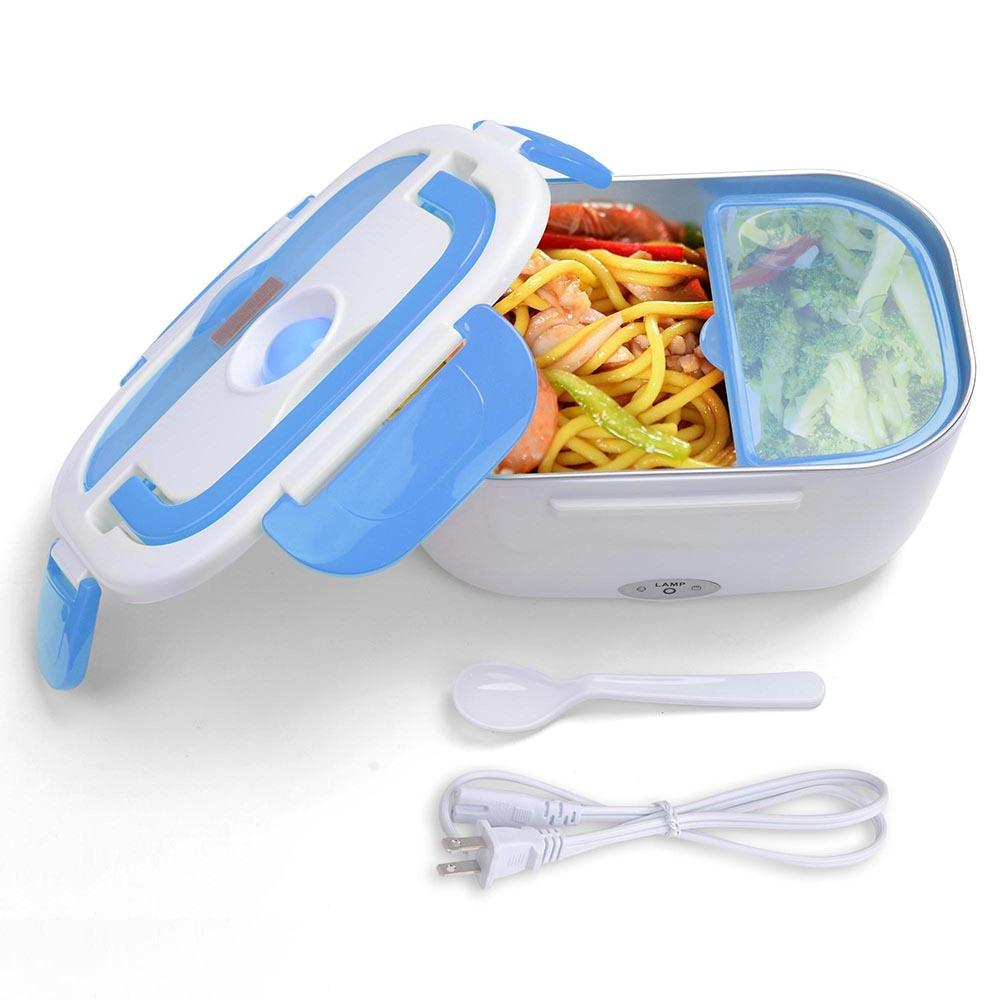 Portable Electric Lunch Box - White and Blue