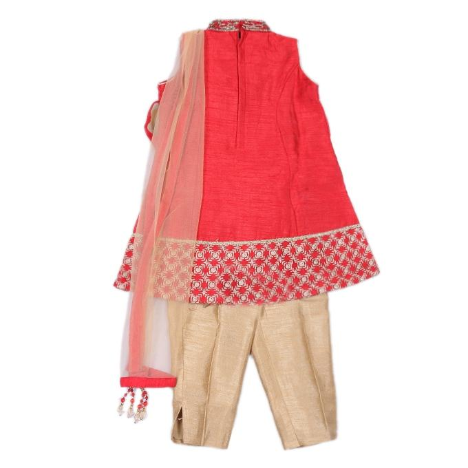 Red and Golden Katan Casual Party Dress For Girls