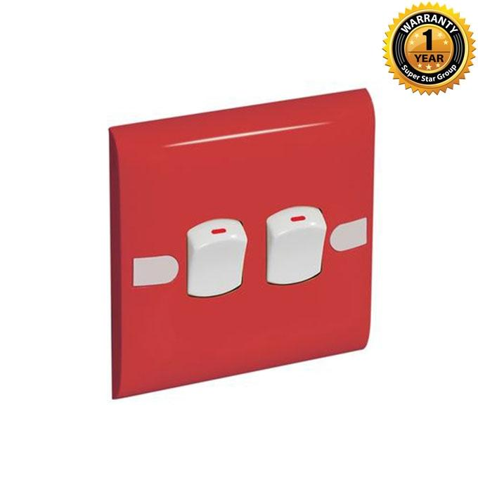 Color Slim Series Color Slim Two Gang One Way Switch – Red