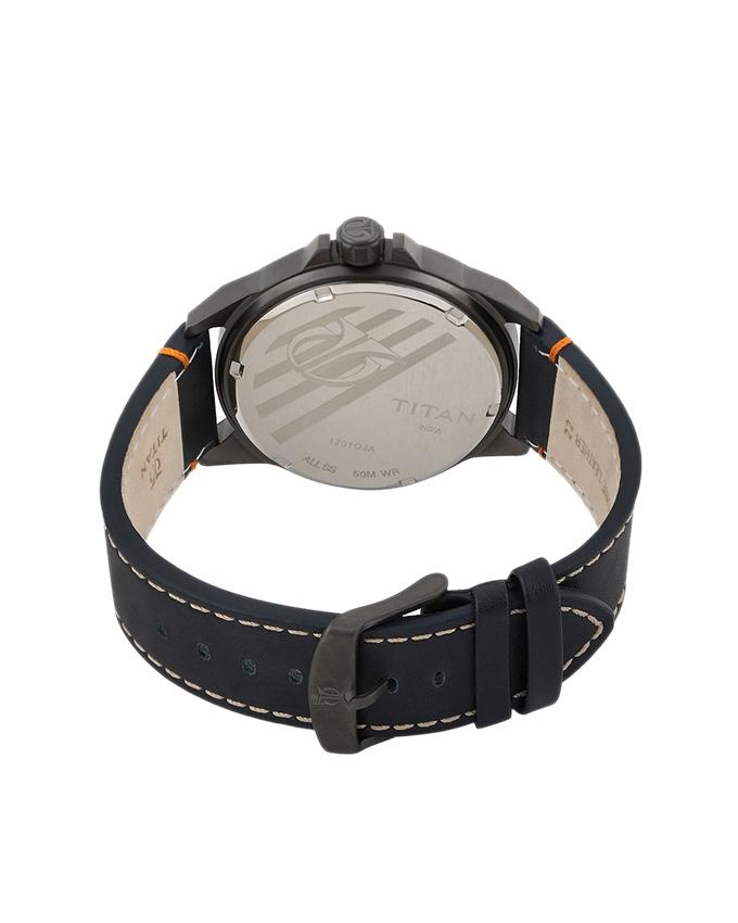 1701QL02 - Leather Analog Watch For Men - Black