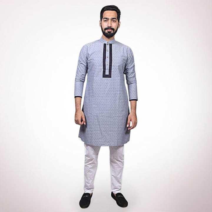 Blue Cotton Casual Panjabi for Men
