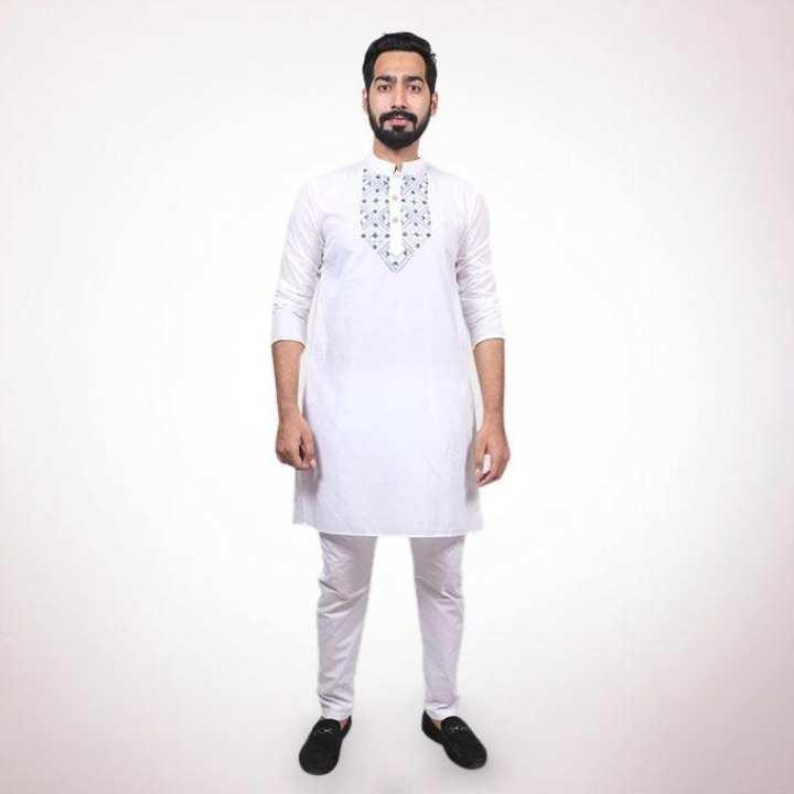 White Cotton Panjabi for Men