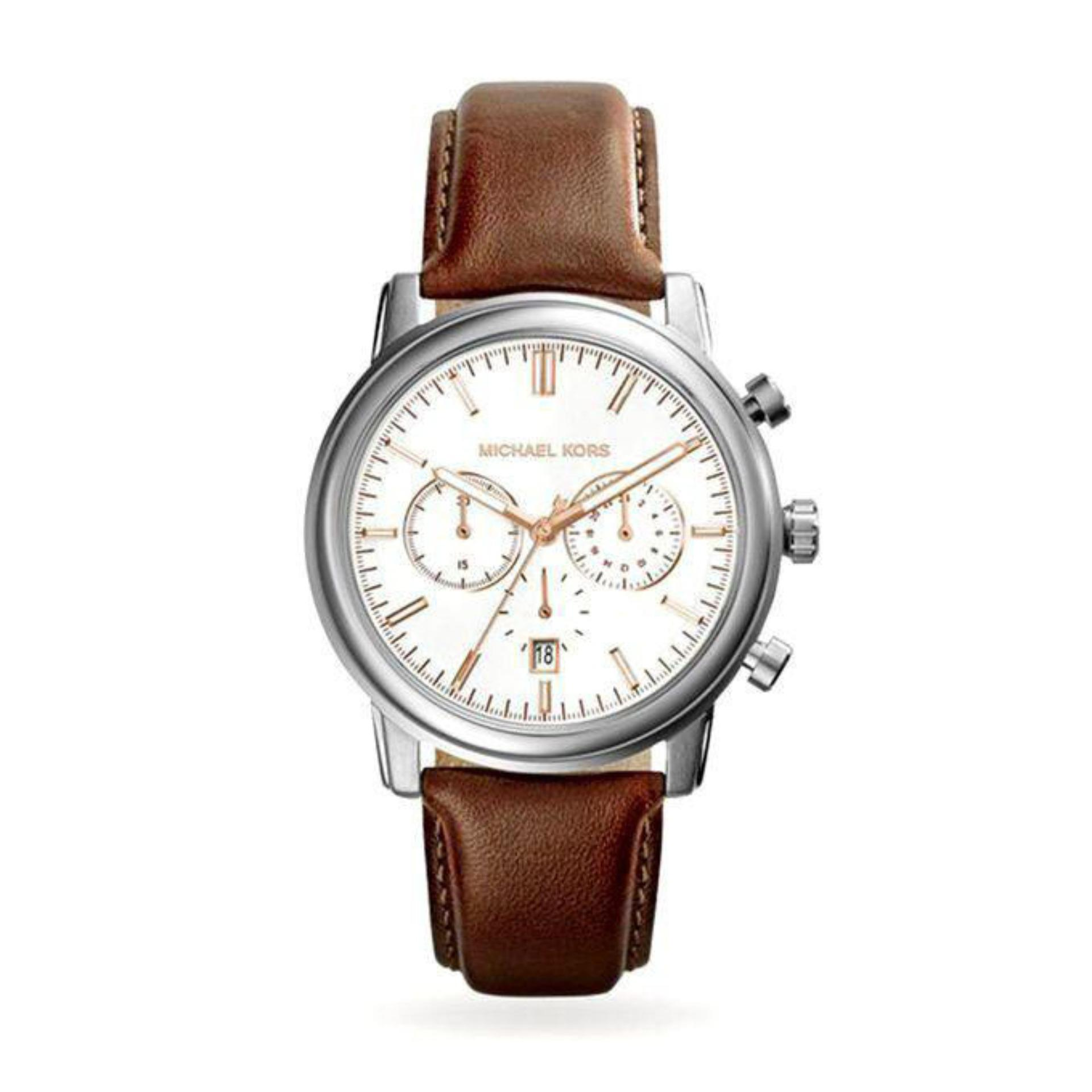 Genuine Leather MK8372 Pennant Chronograph Watch for Men - Brown