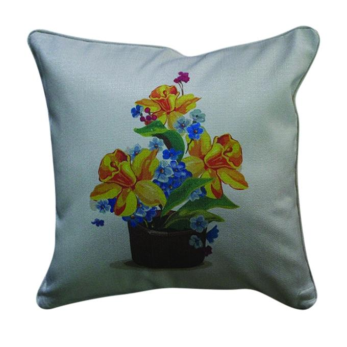 Flower Pot Printed Cushion Cover - Gray