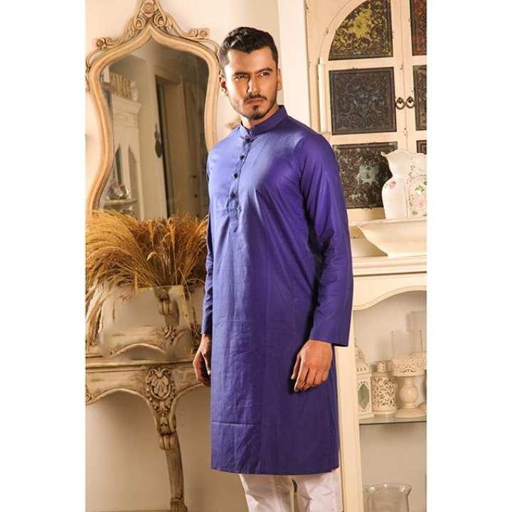 Blue Cotton Short Panjabi for Men