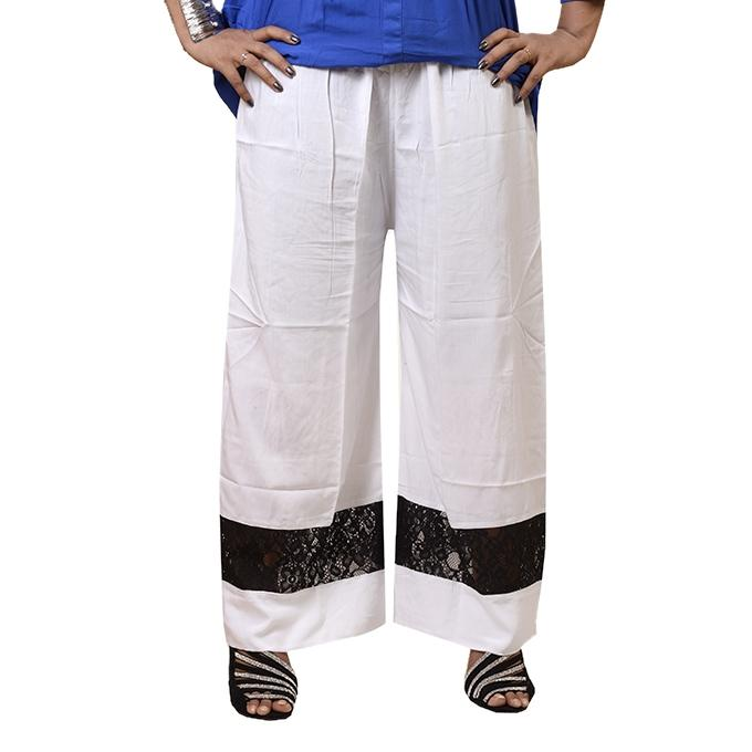 Off White Chinese Linen Palazzo For Women