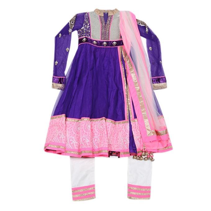Blue Violet and Pink Georgette Casual Salwar Kameez For Girls