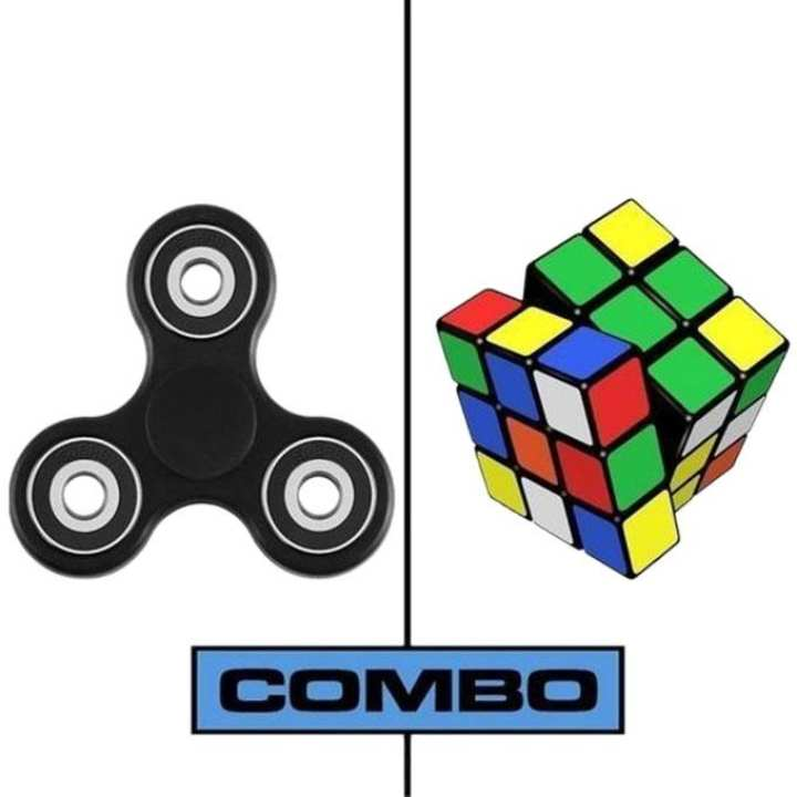 Combo Pack of Black Fidget Spinner and Rubik Magic Cube