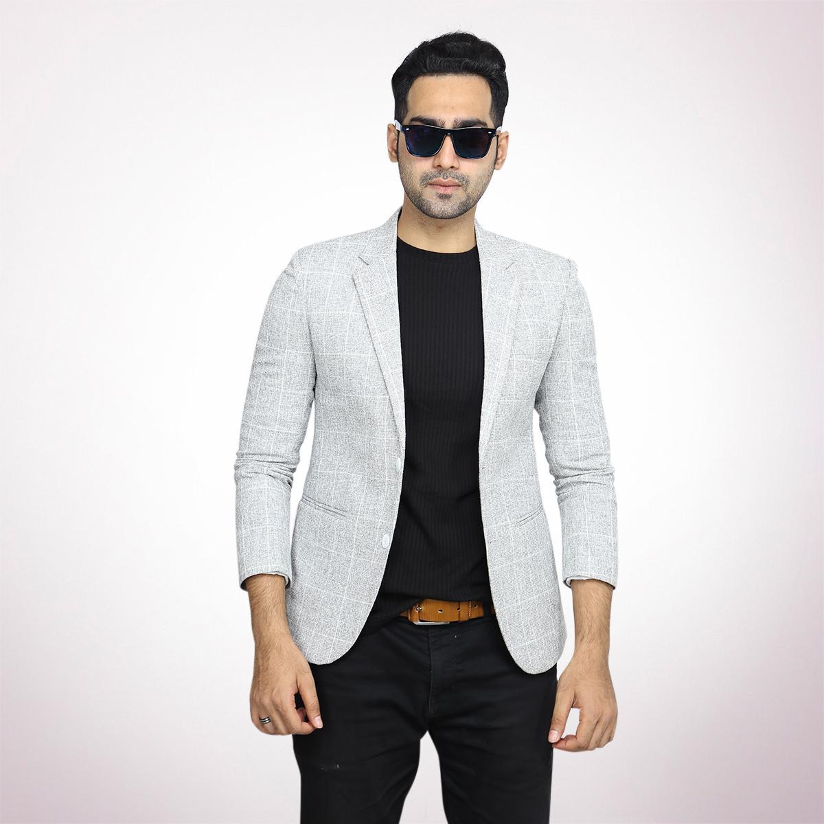 45a68425e Off White Fancy Check SP TR Blazer For Men