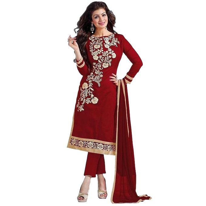 Maroon Cotton Un-stitched Block Printed Shalwar Kameez For Women