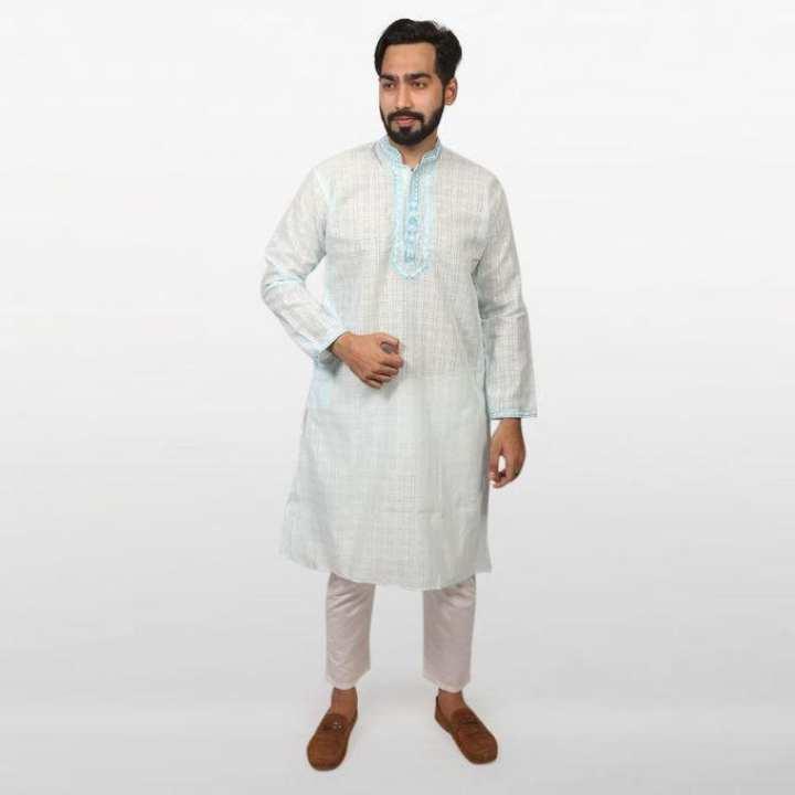 Sky Blue Braso Cotton Panjabi for Men