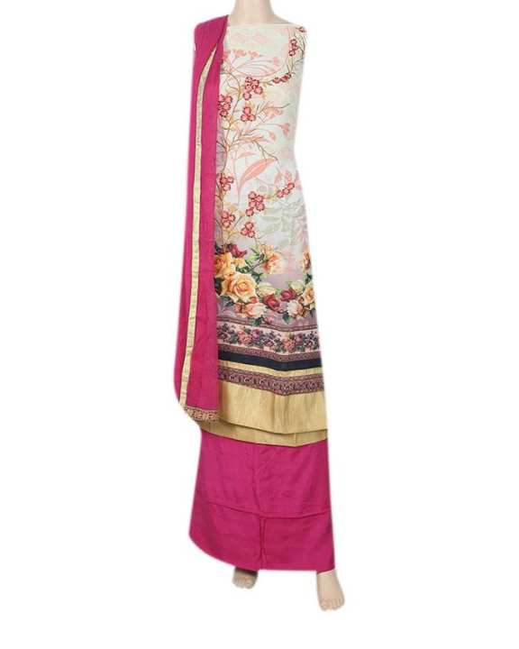 Silk Unstitched Salwar Kameez For With Shifon Dopatta Women - Off White and Deep Pink