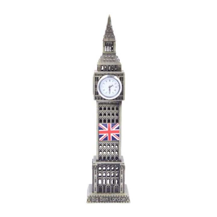 Antique Metal London tower with watch - Grey