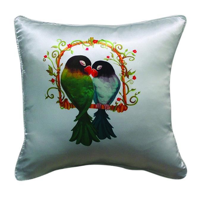 Couple Bird Printed Cushion Cover - Gray