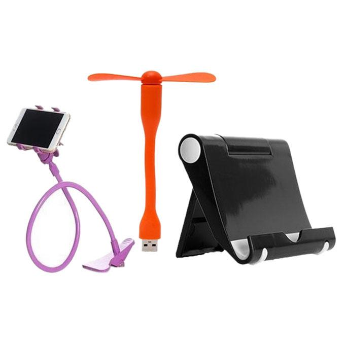 Combo of USB Fan, Multi Mobile/Tablet Stand & 360 Rotate Long Stand