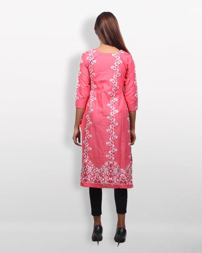 Pink Cotton Kurti For Women