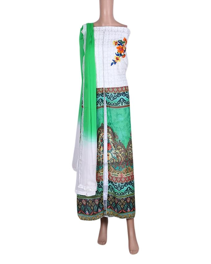 Unstitched Shalwar Kameez For Women - White and Green