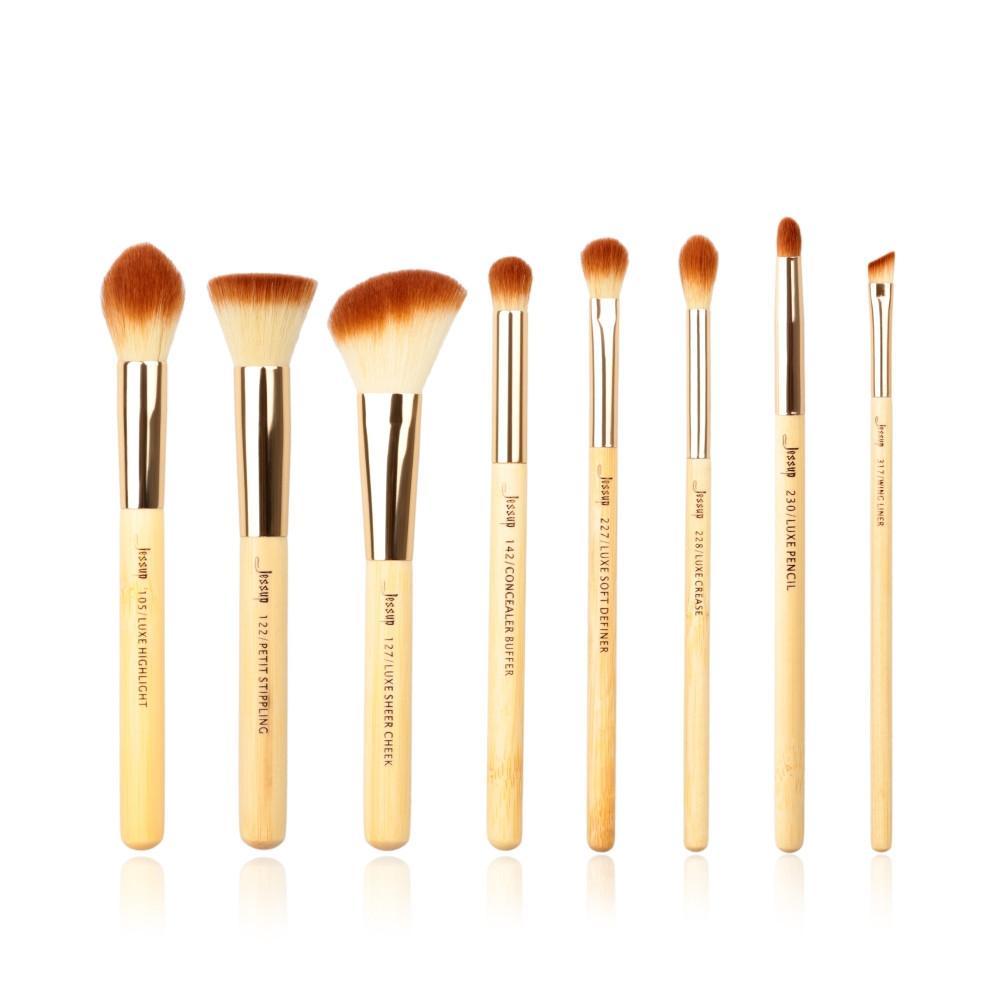 T138 8 PCs Bamboo Series Brush Set - Golden