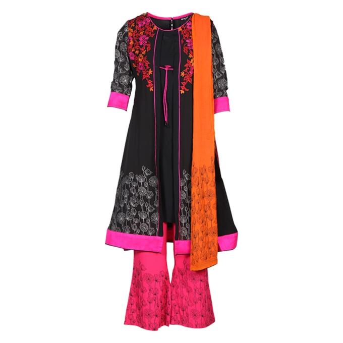 Multi-Color Mixed Fabrics Stitched Salwar Kameez for Women