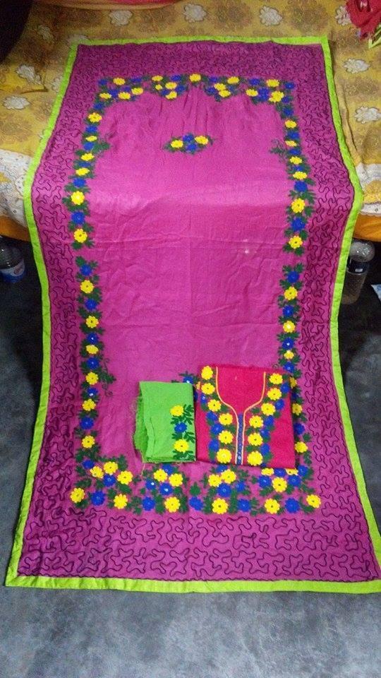 Multicolor Unstitched 3 Pcs For Women