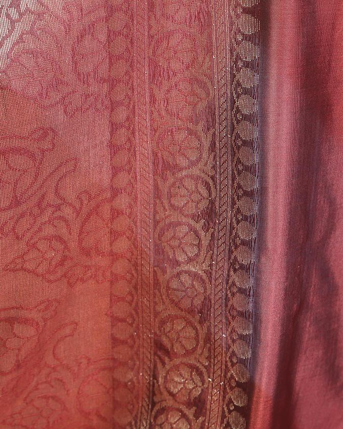 Katan Silk Party Saree - Black and Light Red