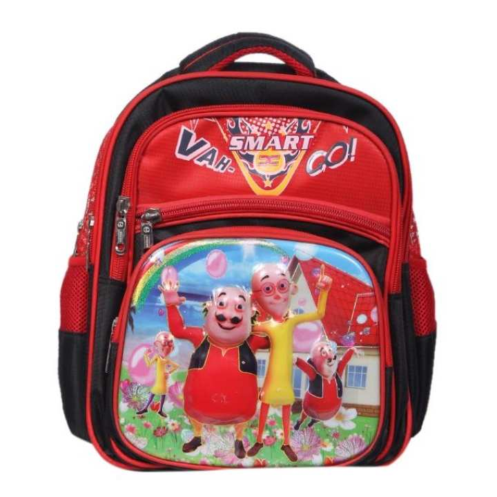 Red and Black Polyester Backpack For Girls