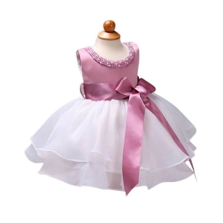 White And Pink Georgette Party Frock For Girl