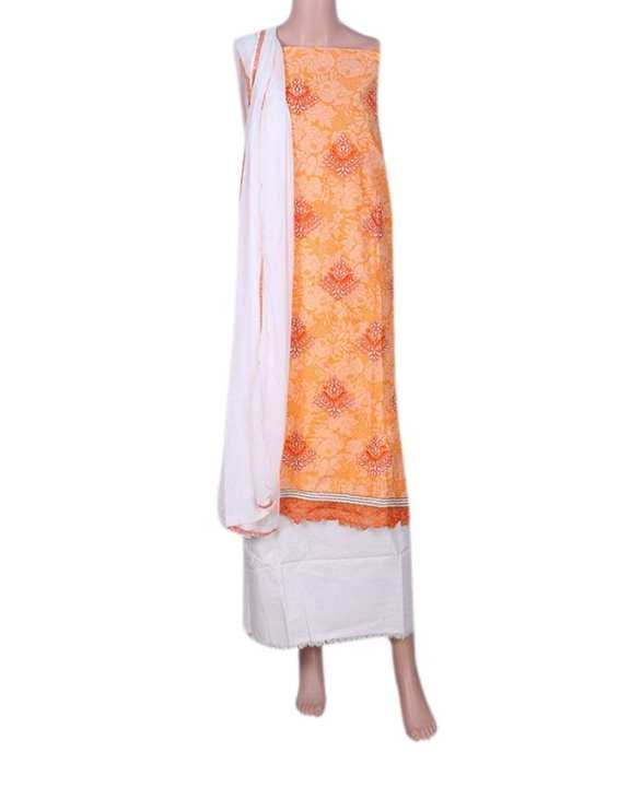 Cotton Unstitched Salwar Kameez With Shifon Dopatta For Women - White and Yellow